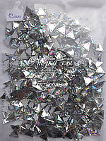 Стразы пришивные Треугольники 12мм. 500шт Акрил Crystal AB