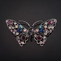"""Брошь Бабочка ажурная синие, розовые ,бордовые стразы цвет металла """"темное серебро"""" 4х7см"""