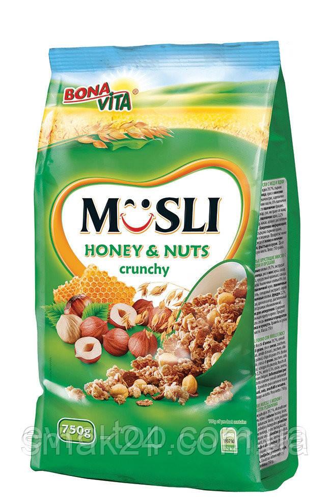 Мюсли хрустящие с медом и орехами Bona Vita Чехия 700г