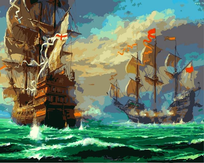 Картины по номерам на холсте 40×50 см. Морской бой, фото 1