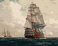 Картины по номерам на холсте 40×50 см. Корабль в море Художники Димер Михаэль Цено, фото 1