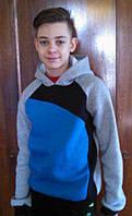 Подростковая толстовка для мальчика вставки (трехнитка)