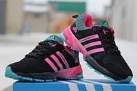 Женские кроссовки Adidas чёрные+розовые фитнес