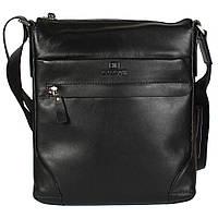 Повседневная мужская сумка через плечо из гладкой кожи черная Lare Boss (Италия) LB00139-21