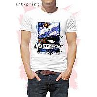 Чоловіча футболка бавовна біла з принтом Скейтборд, фото 1