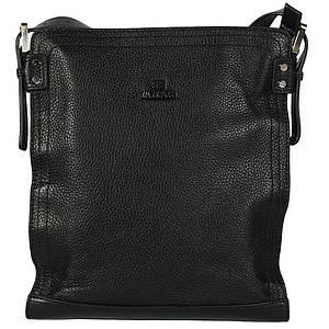Вертикальная мужская сумка документов с кожаным ремнем черная Lare Boss