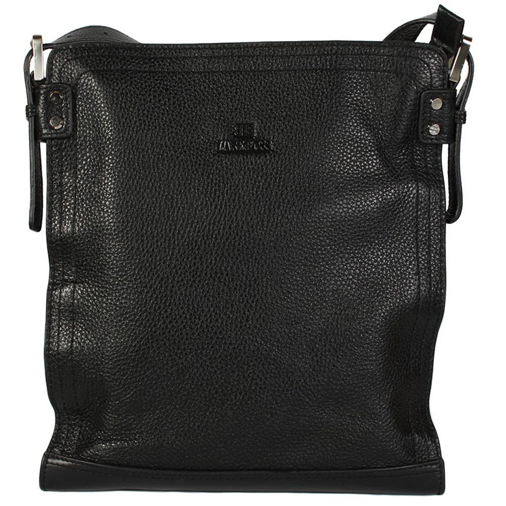 Вертикальная мужская сумка документов с кожаным ремнем черная Lare Bos