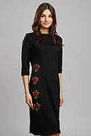 Черное вышитое платье П107