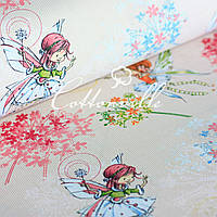 ✁ Отрезы хлопковой ткани Феи на бежевом фоне