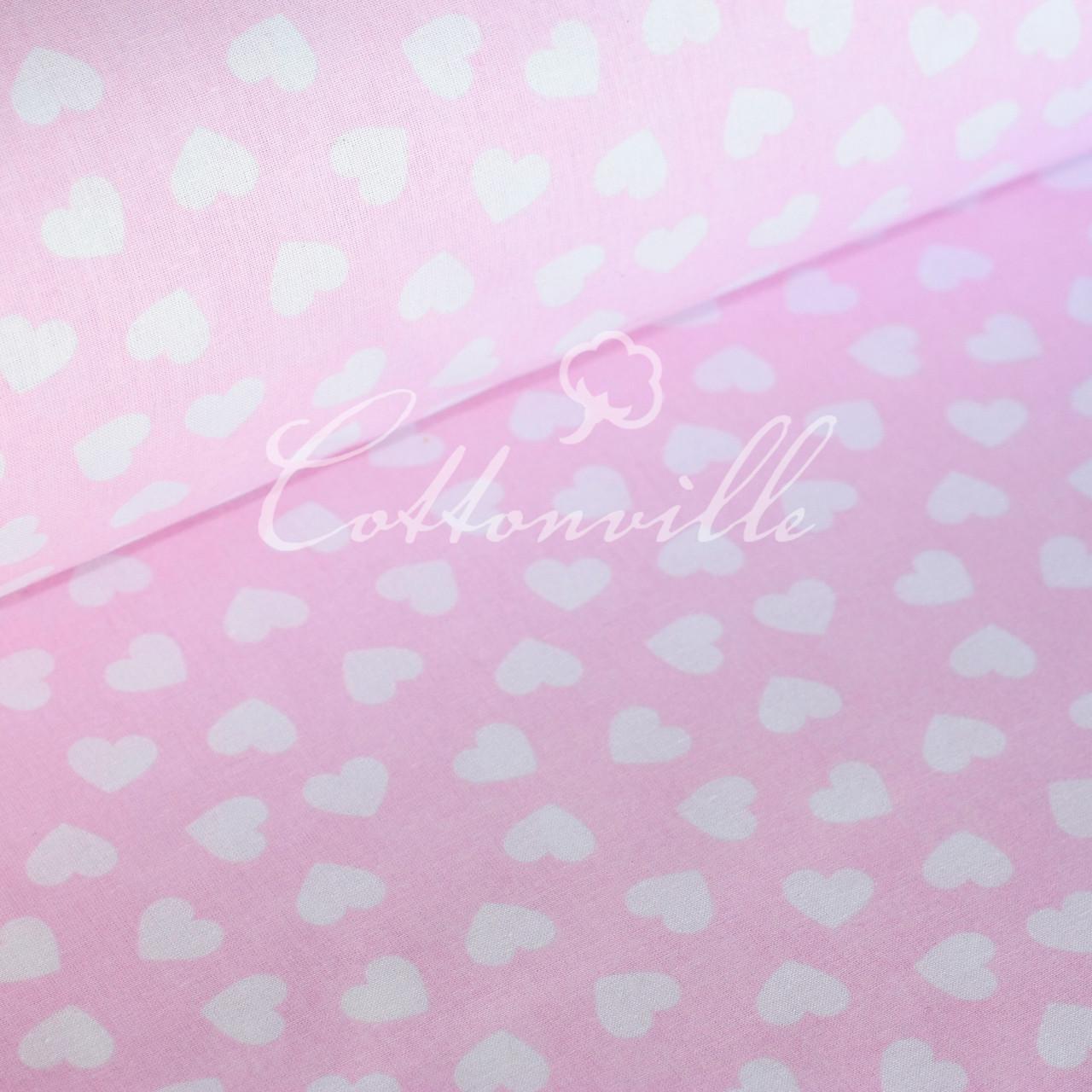 ✁ Отрезы бязи мелкие сердечки на розовом