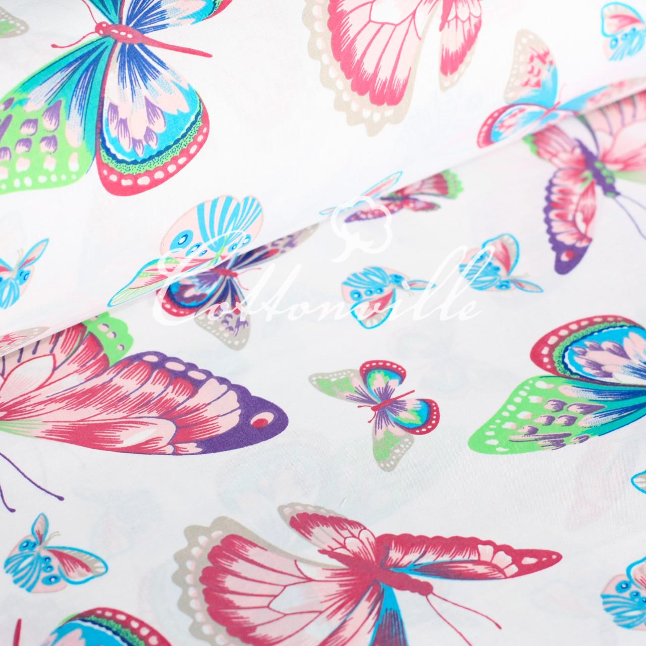 Хлопковая ткань Разноцветные бабочки