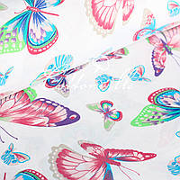 Хлопковая ткань Разноцветные бабочки, фото 1