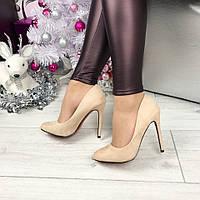 Женские туфли на высоком каблуке 11 см, бежевые / замшевые туфли женские 2017, модные с красной подошвой