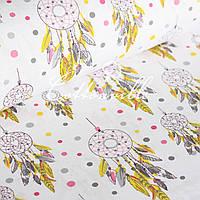 Хлопковая ткань Ловец снов на белом , фото 1