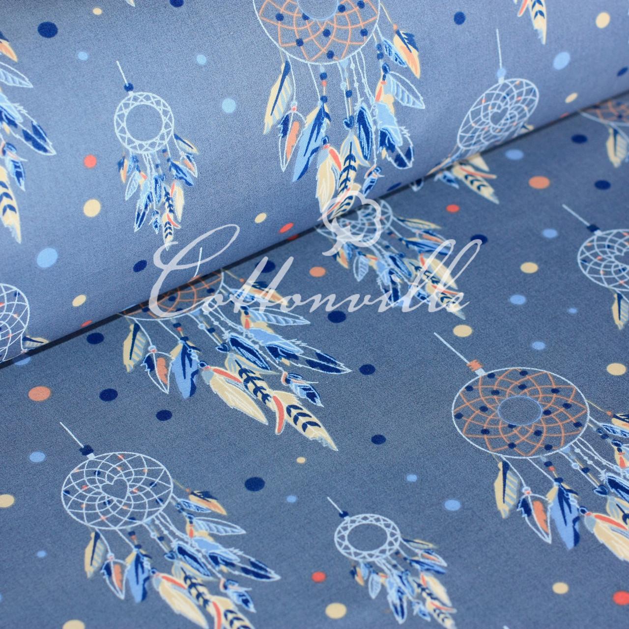 ✁ Отрезы хлопковой ткани Ловец снов синяя