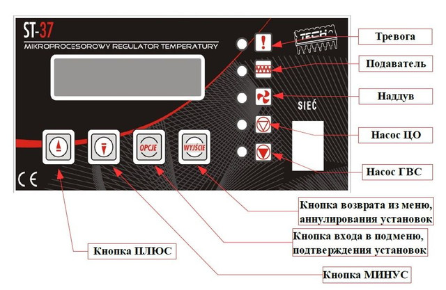 Автоматика для твердотопливных котлов Тек 37