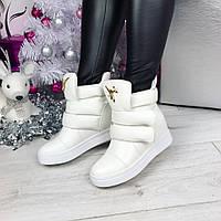 Женские  сникерсы на скрытой платформе 7 см, белые / кроссовки  сникерсы женские, эко кожа, модные