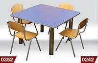 Стол детский квадратный, 4-месний, на хромовых ножках 800*800*520