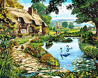 Картины раскраски по номерам 40 × 50 см. Коттедж у озера