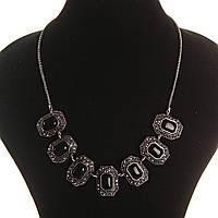 Колье с Агатом в металле под тёмное серебро, 7 квадратных вставок 10*15, длина 50см