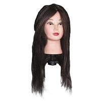 Голова учебная. Натуральные волосы 60 см. Брюнет.
