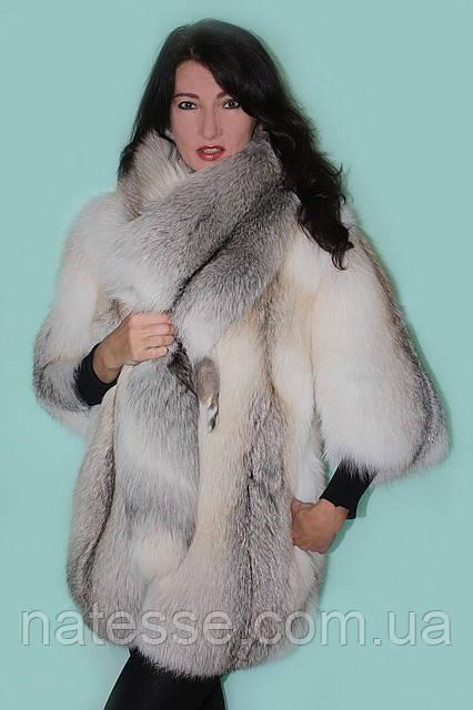 Шуба кожушок з полярної лисиці «Fanny» зі знімною горжеткой Мод 21.