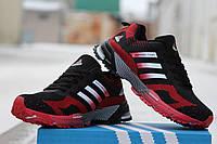 Мужские кроссовки Аdidas Marathon, черно красные / кроссовки мужские Адидас, плотная сетка, удобные