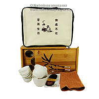 Набор китайской чайной церемонии (чабань,пиалы-6шт,полотенце,щипцы,чахай,гайвань) подарочный с529
