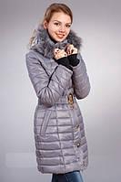 Зимняя женская молодежная куртка с мехом, серого цвета.