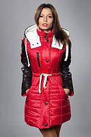 Стильная и теплая женская куртка. Цвет красный с черным