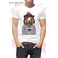 Мужская футболка хлопок белая с рисунком Медведь