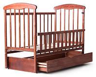 Детская кроватка Наталка маятник+ящик с откидной боковиной Ясень Тонированая