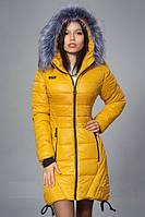 Красивая горчичная женская зимняя куртка. Опт и розница