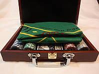 Покерный набор в деревянном кейсе на 200 фишек, фото 1