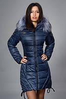 Темно синяя, удлиненная зимняя куртка с мехом. Размеры: M, XXL и XXXL