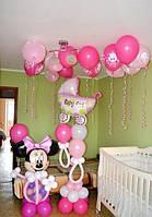 Оформление детской комнаты воздушными шарами на выписку из роддома