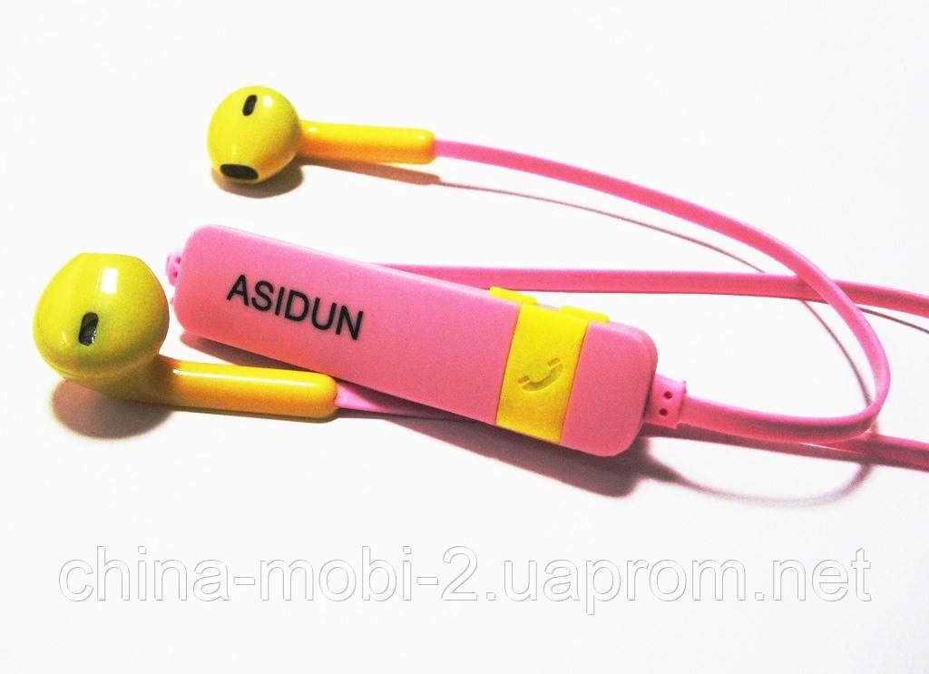 Беспроводные наушники AD-022 СПОРТ  Bluetooth + микрофон + регулятор громкости , Pink