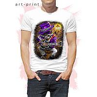 Футболка мужская белая рисунок Rock Skull