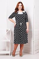 Женское Платье с атласной отделкой цвет черный СИЛЬВИЯ (54-60)