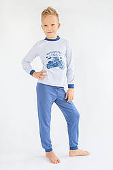 """Пижама детская для мальчика """"Мотоклуб"""" (серый+синий)"""