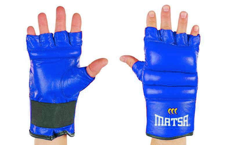 Перчатки боевые кожаные Matsa Full Contact синие