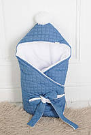 Детский зимний стеганный джинсовый конверт-одеяло на махре ТМ MagBaby 109160
