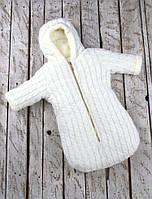 Зимний комбинезон-конверт для новорожденного Умка на махре ТМ MagBaby Молоко 101141