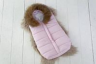 Зимний конверт для новорожденного Snowman с натуральной опушкой ТМ MagBaby Розовый 120233