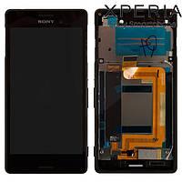 Дисплейный модуль (+ сенсор) для Sony Xperia M4 Aqua E2312 / E2333, с рамкой, черный, оригинал