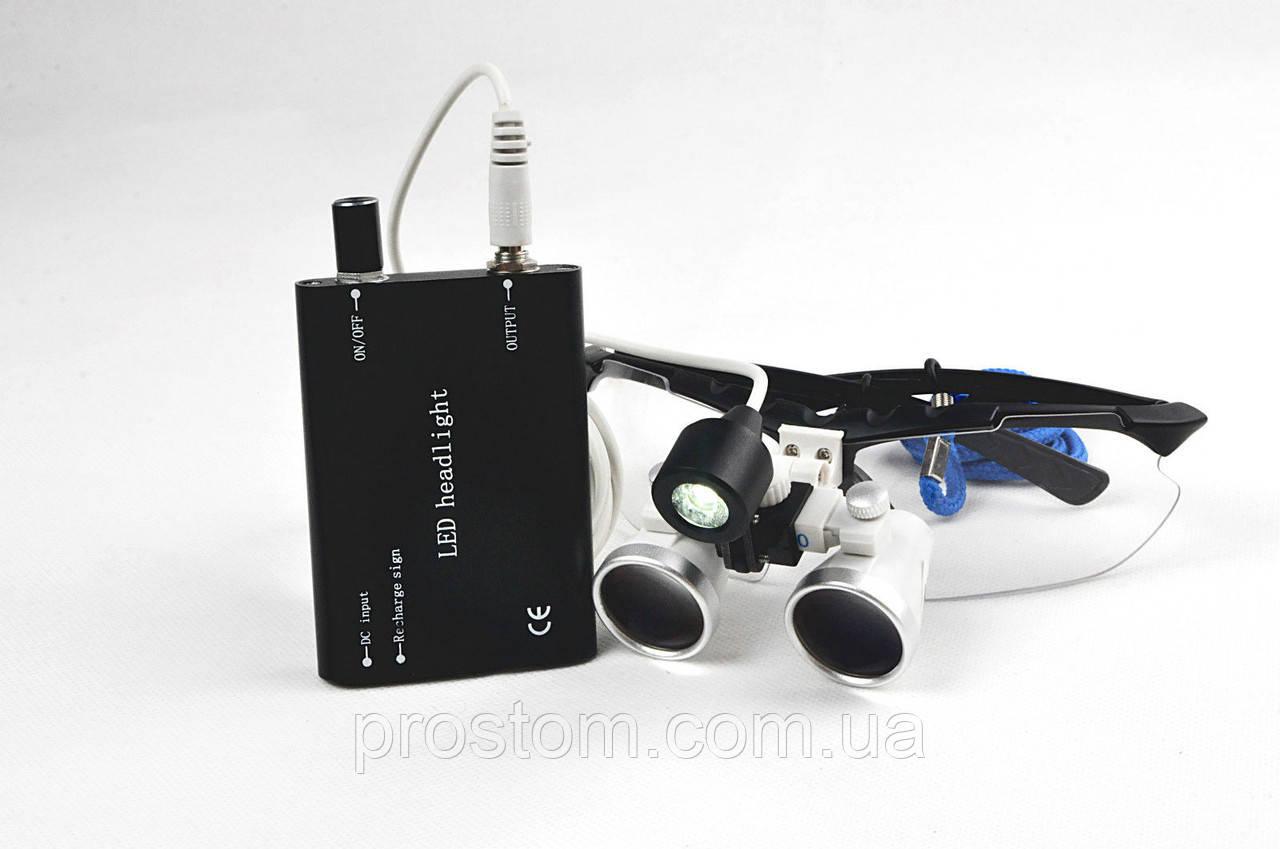 Комплект бинокуляры 3.5-420 + LED (черные)