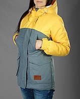 Женская зимняя парка, куртка, высокое качество, зима -25, желый + серый