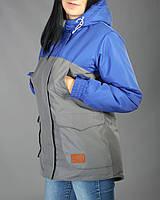 Женская зимняя парка, куртка, высокое качество, зима -25, синий+ серый