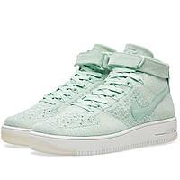 Оригинальные  кроссовки Nike W Air Force 1 Flyknit Enamel Green & White