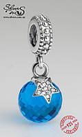 """Серебряная подвеска-шарм Пандора (Pandora) """"Луна и звезда в ночи. Голубая"""" для браслета"""